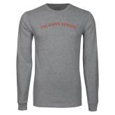Grey Long Sleeve T Shirt-Arched Tau Kappa Epsilon