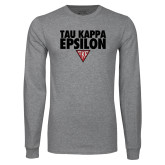 Grey Long Sleeve T Shirt-Tau Kappa Epsilon Stacked w/ Houseplate