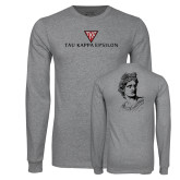 Grey Long Sleeve T Shirt-House Plate Tau Kappa Epsilon