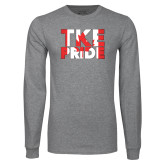 Grey Long Sleeve T Shirt-TKE Pride - Canada Flag