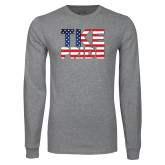 Grey Long Sleeve T Shirt-TKE Pride - USA Flag