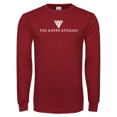 Cardinal Long Sleeve T Shirt-House Plate Tau Kappa Epsilon