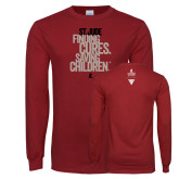 Cardinal Long Sleeve T Shirt-St Jude Finding Cures Saving Children