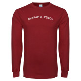 Cardinal Long Sleeve T Shirt-Arched Tau Kappa Epsilon