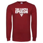 Cardinal Long Sleeve T Shirt-Tau Kappa Epsilon Stacked w/ Houseplate