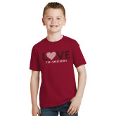 Youth Cardinal T Shirt-Love Stripes Sweetheart Design