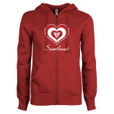 ENZA Ladies Cardinal Fleece Full Zip Hoodie-Triple Heart Sweetheart Design