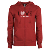 ENZA Ladies Cardinal Fleece Full Zip Hoodie-Love Stripes Sweetheart Design