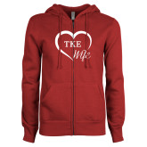 ENZA Ladies Cardinal Fleece Full Zip Hoodie-TKE in Heart - TKE Wife