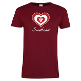 Ladies Cardinal T Shirt-Triple Heart Sweetheart Design