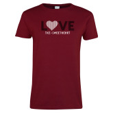 Ladies Cardinal T Shirt-Love Stripes Sweetheart Design