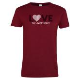 Ladies Cardinal T Shirt-Love Stripes Sweetheart Design
