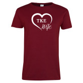 Ladies Cardinal T Shirt-TKE in Heart - TKE Wife
