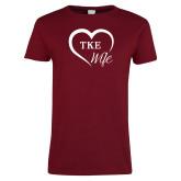 Ladies Cardinal T Shirt-TKE in Heart - TKE Wife