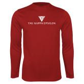 Performance Cardinal Longsleeve Shirt-House Plate Tau Kappa Epsilon