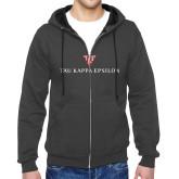 Charcoal Fleece Full Zip Hood-House Plate Tau Kappa Epsilon