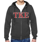 Charcoal Fleece Full Zip Hoodie-TKE