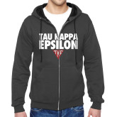 Charcoal Fleece Full Zip Hoodie-Tau Kappa Epsilon Stacked w/ Houseplate