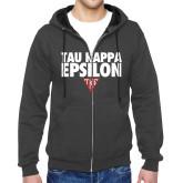 Charcoal Fleece Full Zip Hood-Tau Kappa Epsilon Stacked w/ Houseplate