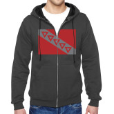 Charcoal Fleece Full Zip Hoodie-Flag