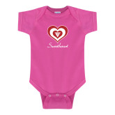 Fuchsia Infant Onesie-Triple Heart Sweetheart Design