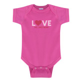 Fuchsia Infant Onesie-Love Stripes Sweetheart Design