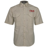 Khaki Short Sleeve Performance Fishing Shirt-TKE