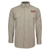 Khaki Long Sleeve Performance Fishing Shirt-TKE