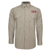 Khaki Long Sleeve Performance Fishing Shirt-TKE