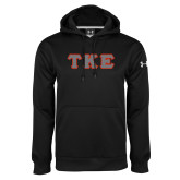 Under Armour Black Performance Sweats Team Hoodie-Greek Letters Tackle Twill