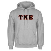 Grey Fleece Hood-Greek Letters Tackle Twill