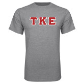 Grey T Shirt-Greek Letters Tackle Twill