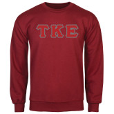 Cardinal Fleece Crew-Greek Letters Tackle Twill