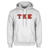 White Fleece Hood-Greek Letters Tackle Twill