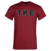 Cardinal T Shirt-Greek Letters Tackle Twill