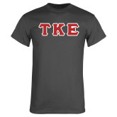 Charcoal T Shirt-Greek Letters Tackle Twill