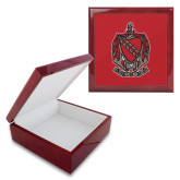 Red Mahogany Accessory Box With 6 x 6 Tile-Coat of Arms