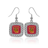 Crystal Studded Square Pendant Silver Dangle Earrings-TU Warrior Symbol