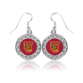 Crystal Studded Round Pendant Silver Dangle Earrings-TU Warrior Symbol