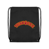 Black Drawstring Backpack-Arched Tuskegee