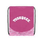 Nylon Zebra Pink/White Patterned Drawstring Backpack-Arched Tuskegee