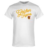 White T Shirt-Golden Tigers Script