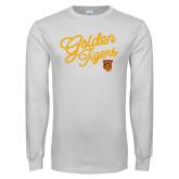 White Long Sleeve T Shirt-Golden Tigers Script