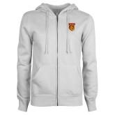 ENZA Ladies White Fleece Full Zip Hoodie-TU Warrior Symbol