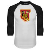 White/Black Raglan Baseball T Shirt-TU Warrior Symbol