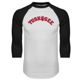 White/Black Raglan Baseball T Shirt-Arched Tuskegee