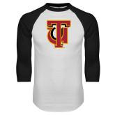 White/Black Raglan Baseball T Shirt-Interlocking TU