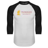 White/Black Raglan Baseball T Shirt-University Mark Flat