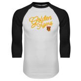 White/Black Raglan Baseball T Shirt-Golden Tigers Script