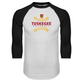 White/Black Raglan Baseball T Shirt-Football Arches